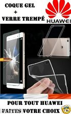 ---- POUR MODELE HUAWEI PACK LOT COQUE SILICONE+ FILM VERRE TREMPE -- PROMOTION