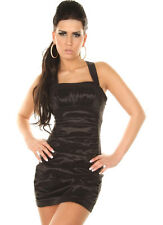Black strappy clubwear satin dress with Ruffles.