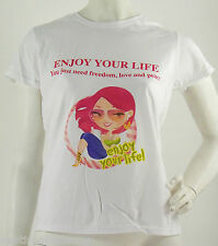 "Lotto 5 T-Shirt Maglietta Donna FRUIT OF THE LOOM ""Enjoy Your Life"" A119  **"