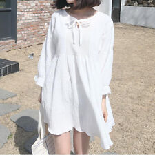2016 spring new Korean sweet tassel stitching loose cotton and pullover dress