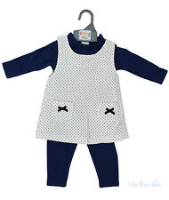 Baby Girls 3 Piece set Spotted Pinafore Dress, Navy Leggings & Top (6-24 Months)