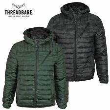 Mens Threadbare Camo Padded Quilted Hooded Puffa Jacket Winter Bubble Coat