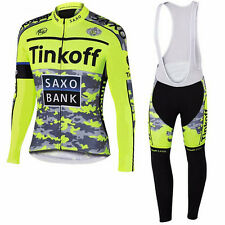 Cycling Jersey & Bib Long Sleeves Set Saxo Bank Tinkoff Sports Cycling Clothing