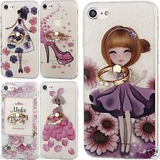 For iPhone 7 Case Thin Soft Printed glitter Cover Silicone TPU Key Ring Stand