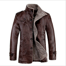 Men 's stand collar casual coat long fur PU leather jacket wave men' s winter