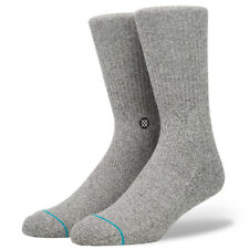 "Stance Solids ""Icon"" Crew Socks (Grey Heather) Men's Classic Basic Ribbed Sock"