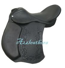 NEW Black Leather Treeless GP (jumping) Saddle with carving & Tooling in 4 sizes