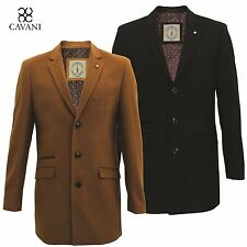Mens Cavani Long Wool Blend Mix Winter Formal Trench Coat Mac Jacket Overcoat