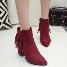 2016 autumn and winter new frosted bare boot shoes pointed with thick fringed