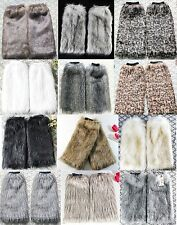 Women Faux Fur Leg Warmers Fluffy Shaggy Boot Shoes Covers Ankle Sleeve Muffs