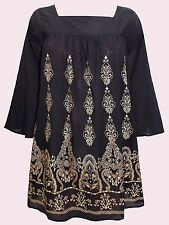 NEW Eaonplus BLACK Flared Sleeve GOLD Foil Print Loose Tunic in Sizes 18 to 32