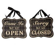 Reversible Come In We Are Open Sorry We Are Closed Black Shabby Chic Shop Sign