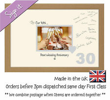 30th Pearl Wedding Anniversary Signing Guest Gift Photo Frame 7x5 691D