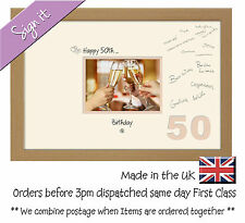 50th Birthday Signing Guest Photo Frame Gift 7x5 Photo by Photos in a Word 672D