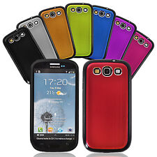 Samsung Galaxy i9300 S3 SIII Brushed Aluminum Case Cover with Outer Gel Rim