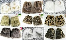 Women's 20cm Faux Fur Fluffy Shaggy Leg Warmers Boot Shoes Covers Ankle Muffs
