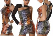 Sexy Mini Kleid Abend Dress S/M 34/36 M/L 36/38 Metallic Regenbogen Leopard