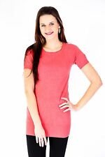 New Womens Ladies Short Sleeve Coral Crew Neck Silver Stud Jumper Dress