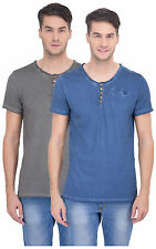 BUGG Stone washed T Shirts - Pack of 2 - Grey and Blue Colors