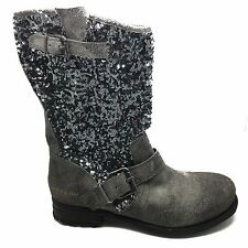 Womens Replay Marah Boots Mid Calf Leather Zip Up Grey UK Size 7 NEW