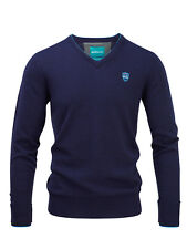 Bunker Mentality Mens Merino Wool V Neck Golf Jumper - Dark Navy Marl