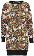 New Womens Christmas Bells Santa Comic Print Sweatshirt Jumpers Tunic Tops 8-22