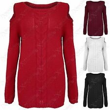 NEW LADIES CABLE KNIT JUMPER COLD CUT OUT SHOULDER WOMENS WARM SCOOP NECK TOPS