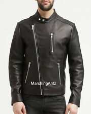 New Men Genuine Leather Jacket Motorcycle Biker Vest Jacket Blazer Bomber 807