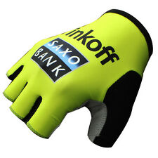 Saxo Tinkoff Bicycle Gloves Half Finger men's and women's Gel gloves yellow