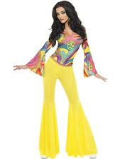 70s Psychedelic Fancy Dress Costume Ladies Yellow 60s and 70s Costumes