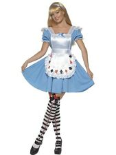 Deck of Cards Girl Fancy Dress Costume Ladies Blue Fairytale Costumes