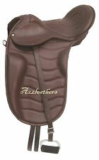 Exclusive Leather Dressage Treeless Saddle in freemax style, 6 Sizes, Brown