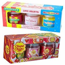 Candle Set x 3 Jars Swizzels Chupa Chups Refresher Drumstick Love Hearts Gift
