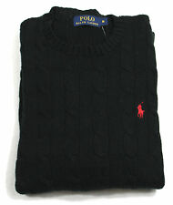 Ralph Lauren Polo Cotton Roving Cable Knit Jumper Men's Long Sleeve Black BNWT
