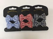 One pair RED or NAVY BLUE gingham check print bow bobble hair for school girls
