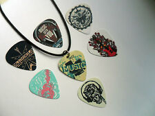 MUSIC STATEMENT Double Sided Guitar Pick / Plectrum Leather Necklace 7 To Choose