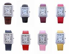 Yileiqi Unisex Silver Bezel Rectangle Dial PU Leather Strap Watch Analog Quartz