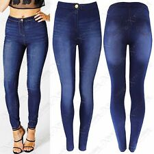 LADIES NAVY DISTRESSED SKINNY STRETCH TUBE JEANS WOMEN HIGH WAIST DENIM JEGGINGS
