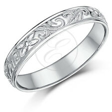 9ct White Gold Wedding 5mm Swirl Patterned Ring Band