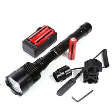 6000Lm 3T6 LED Tactical Flashlight Torch+Battery+Charger+Remote Switch+Gun Mount