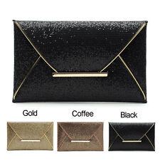 Ladies Bridal Party Evening Prom Envelope Sequins Clutch Bag Handbag Purse F4