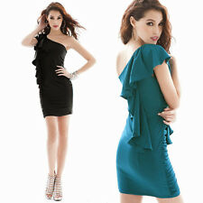 New Korean Womens One Shoulder Flouncing Bodycon Sexy Mini Dress Cocktail Party