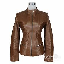 Ladies Real Leather Jacket Soft Lamb Hide Padded Chocolate Brown Waist Women
