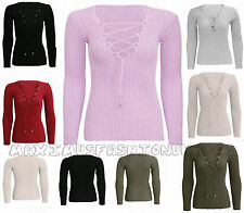 Tie Lace Up V Neck Ribbed Stretched Womens Knitted Long Sleeve Jumper Top Blouse