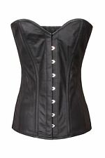 Black Genuine Real Leather Full Steel Boned Basque Lace Overbust Shaper Corset