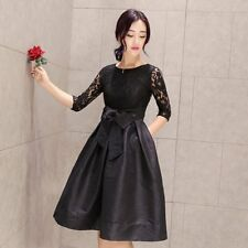 Women's Sexy Long Sleeve Lace Party Prom Cocktail Evening Short Mini Dress S-3XL
