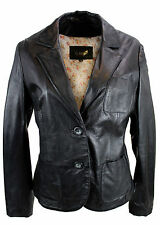 Jilani Vera Pelle Ladies Leather Jacket Giacca Blazer Agnello nappa nero 5377