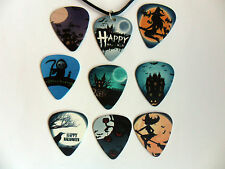HALLOWEEN Guitar Pick / Plectrum Leather Necklace & Charm Nine To Choose