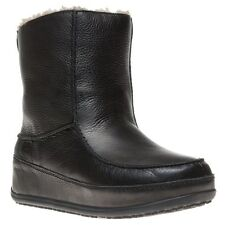 New Womens FitFlop Black Mukluk Moc 2 Leather Boots Mid-Calf Pull On