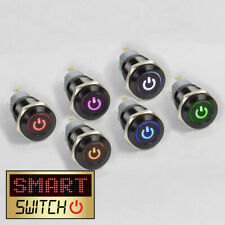 SmartSwitch 12V/24V 3A BLACK Metal Latching ON/OFF POWER LOGO LED Button Switch